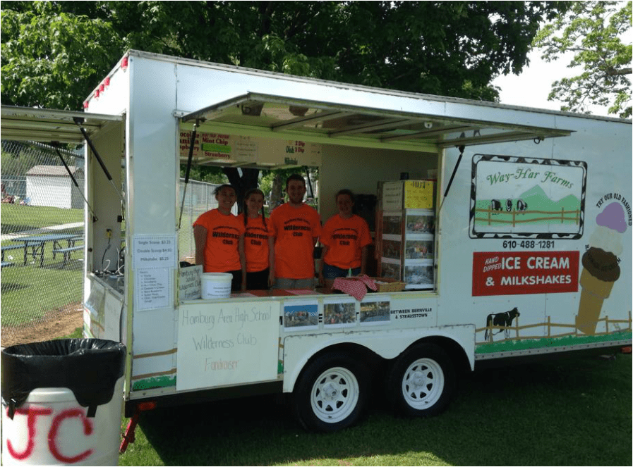Wilderness Club renting out the ice cream wagon for the carnival
