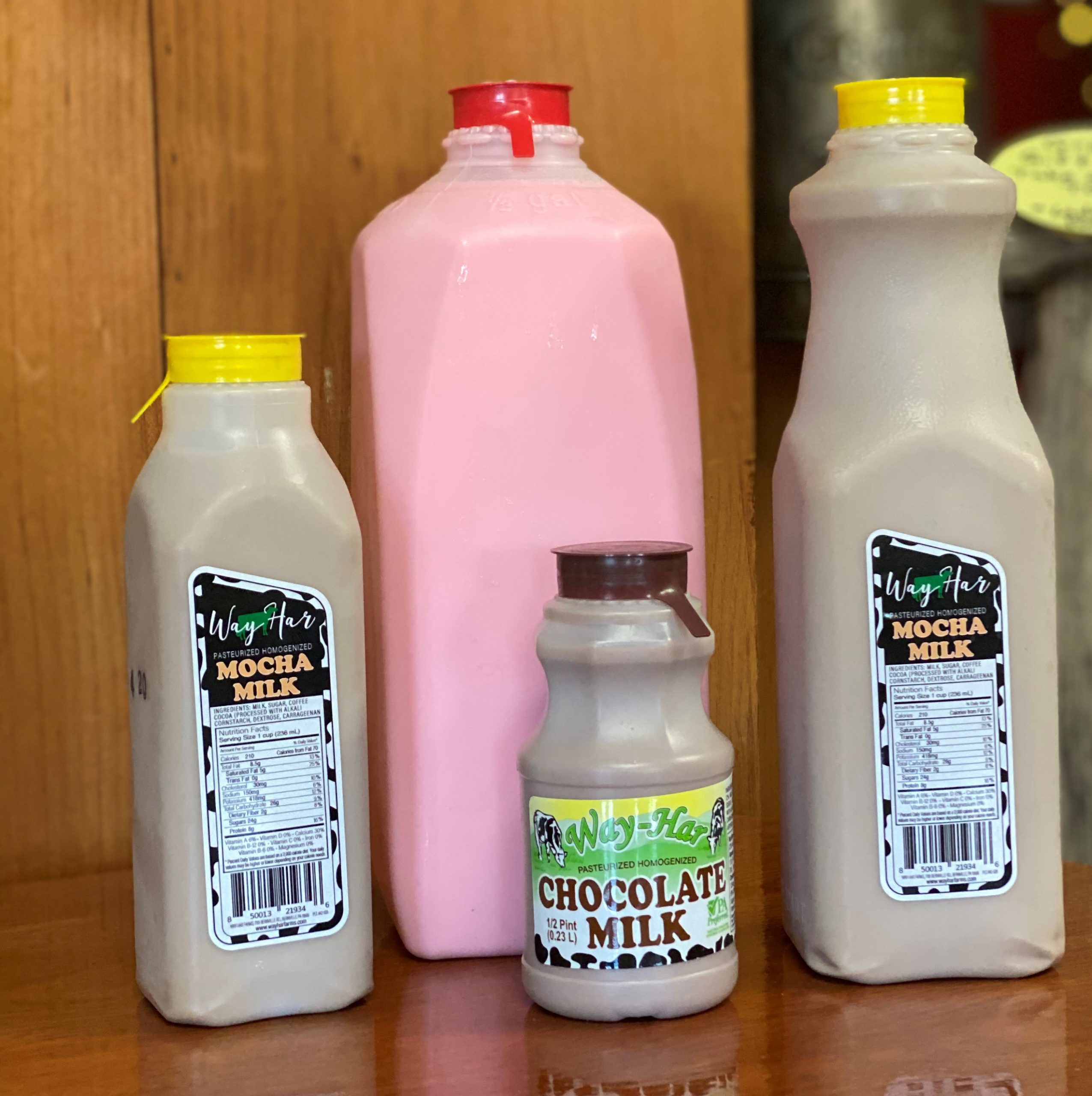 Mocha Milk, Strawberry Milk, and Chocolate Milk made farm fresh at Wa-Har Farm in Bernville PA.